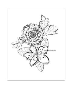 Ink Flower drawing, black and white art, Pen and ink flowers, floral print, nursery artwork, Original Floral sketch, cottage chic, boho art