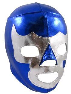 BLUE DEMON YOUTH KIDS Lucha Libre Halloween Costume Mask - Metallic Blue