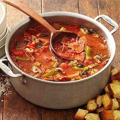 Supreme Pizza Soup - Minus croutons (cook veggies in with sausage otherwise cooking them separately adds cook time which I don't think the recipe is accounting for)