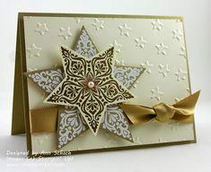 Bright & Beautiful, Stars Framelits, Lucky Stars EF, Pearls, Gold Satin Ribbon - Clean & Elegant
