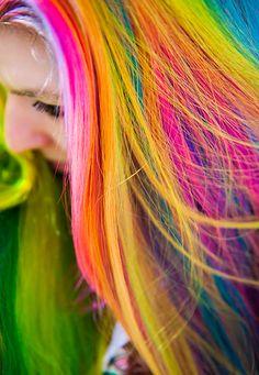 Multi coloured, rainbow #hair #dyed #coloured