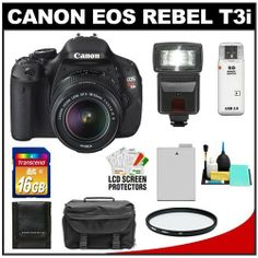 Canon EOS Rebel T3i 18.0 MP Digital SLR Camera Body & EF-S 18-55mm IS II Lens with 16GB Card + Battery + Case + Filter + Flash + Cleaning & Accessory Kit by Canon. $674.95. Kit includes:♦ 1) Canon EOS Rebel T3i Digital SLR Camera Body & EF-S 18-55mm IS II Lens♦ 2) Transcend 16GB SecureDigital Class 10 (SDHC) Ultra-High-Speed Card♦ 3) Spare LP-E8 Battery for Canon♦ 4) Vivitar 58mm UV Glass Filter♦ 5) Precision Design 1000 Deluxe Digital SLR System Camera Case♦ 6) Pre...