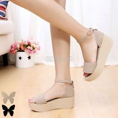 Women Platform Wedge Ankle Strap Open Toe Sandals Shoes #CNdirect