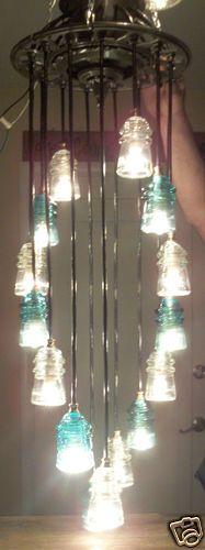 Antique Glass Art Original Lineman Telegraph Glass Insulator Chandelier History | eBay