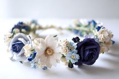 Paper Flower Crown Headband Wedding ivory wooden blue by Kamipapa Butterfly Flowers, Bridal Flowers, Paper Flowers, Flower Crown Headband, Wedding Headband, Flower Crowns, Corona Floral, Hair Wreaths, Floral Headbands