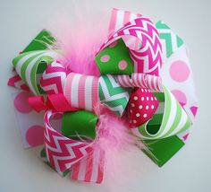 boutique FUNKY fun PINK and green CHEVRON hair bow clip by andjane