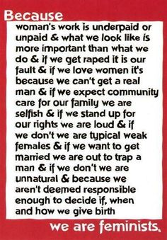 @Dagmar Bleasdale (Dagmar's Home) Jones    For your feminism board.