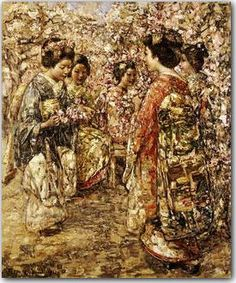 Five Japanese Girls Among Blossoming Trees by Edward Atkinson Hornel.