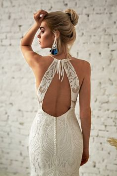 High Neck Wedding Dress - Bohemian Bride - Backless Wedding Dress - White Lace Dress - Halter Wedding Dress - Beach Wedding Dress LoveSpell Bohemian Bride Plain Lace Cap Sleeves V-neck Cheap Wedding Dresses Online, Cheap Lace Dresses Short, Beach Dresses, Dress Beach, White Lace Wedding Dress, Backless Wedding, Wedding White, Dress Wedding, High Neck Wedding Dresses, Bohemian Bride