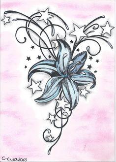 Coeur avec des papillons et des fleurs rose tatouage puce pinterest les fleurs roses - Dessin fleur de lys ...