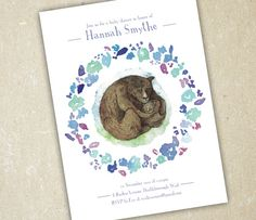 Baby Shower Invitation  Mama and Baby Bear by SixDaysCreations