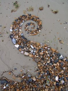 Artist- Dishtwiner Medium- eARTh Meaning of the artwork- To form a spiral using shells on the beach ---- I like something like this for our temporary public art projects Land Art, Photo Trop Belle, Art Environnemental, Shell Art, Outdoor Art, Environmental Art, Natural Forms, Pebble Art, Pebble Stone