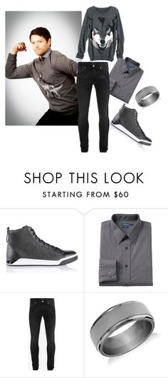 """Misha Collins"" by roseunspindle ❤ liked on Polyvore featuring Diesel, Croft & Barrow, Alexander McQueen, Blue Nile, men's fashion, menswear, black, mishacollins, grey and wolf"