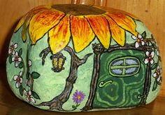 """Gnome House with Sunflower Roof""  by http://www.artbykathycarr.etsy.com/"