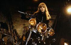 Marianne Faithfull filming La Motocyclette (Girl on a Motorcycle), 1967 http://theselvedgeyard.wordpress.com/2009/12/01/marianne-faithfull-sister-morphine/
