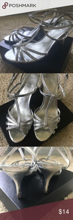 "Silver strappy heels These are the most comfortable shoes I've ever owned! Pre loved condition but lots of life left! Heel is 3"". Aldo Shoes Sandals"