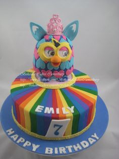 Made this cake with pleasure on behalf of The Cake Angels. This little girl's favourite things are Furby's, Princesses, and rainbows.
