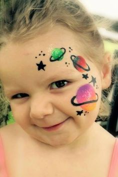 One puoncer face painting by Jo Etoll External space. it is really every single minimal Face Painting Images, Face Painting For Boys, Face Painting Tips, Simple Face Painting, Easy Face Painting Designs, Face Paintings, Alien Face Paint, Cheek Art, Face Paint Makeup