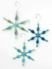 Beaded Snowflake Christmas Ornament from BHG. Start with a wire snowflake form, pick an assortment of beads to suit your fancy, and make a blizzard of these pretty Christmas snowflake ornaments.