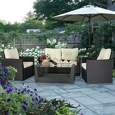 Giantex 4pc Rattan Sofa Furniture Set Patio Garden Lawn Cushioned Seat Black Wicker (Black). |  http://landscapeandlighting.net