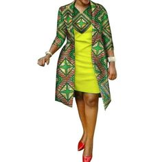 African cotton wax Print Dress and Suit Coat for – Afrinspiration Remilekun - African Styles for Ladies Latest African Fashion Dresses, African Dresses For Women, African Print Dresses, African Print Fashion, Africa Fashion, African Attire, African Women, African Dress Designs, Ankara Fashion