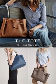 The von Holzhausen Tote is ideal for work, play, and travel. The shoulder straps on this tote elongate when worn for a comfortable fit. This bag is constructed with natural grained soft Italian leather, is lined with Japanese suede and has two open pockets on the interior. This bag comes in four colors: black, caramel, taupe and denim.: