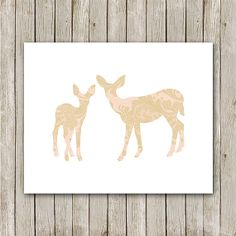 Doe and Fawn Printable Instant Download Pink by MossAndTwigPrints, $5.00