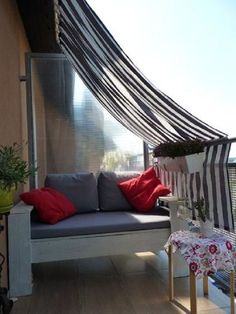 Like the curtain idea, but would want to add a steel (or pvc) pipe frame so it doesn't sag.