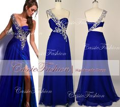 One Shoulder Floor Length Beading Crystal Blue by CassieFashion, $149.00 (Looks best with someone actually in the dress) :)