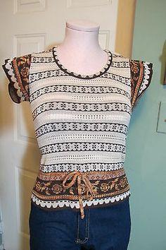 vintage 70s eyelet fairisle cap sleeve sweater shirt crop peplum style boho XS/S