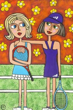 "Inspired by my love of tennis and recent loss in the final of mid week ladies comp came the idea of 'don't worry we will get them next time"". This painting was donated to the Breast Cancer Tennis Challenge Day. Tennis Shop, Tennis Party, Tennis Gifts, Tennis Drawing, Tennis Posters, Tennis Pictures, Tennis Accessories, Tennis Quotes, Illustrations"