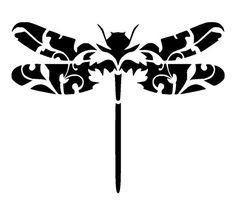 8.3/117 libellule vintage 3 au pochoir. A4. par LoveStencil