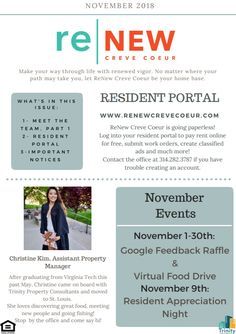 It's our November Newsletter! Here's what's happening at ReNew Creve Coeur this month! Pet Friendly Apartments, Meet The Team, How To Plan, How To Make, Let It Be, Make It Yourself, November, Life
