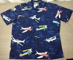 Kalaheo Hawaiian Shirt Medium Mens SS Airplanes High Wing Biplane Cessna Blue | Clothing, Shoes & Accessories, Men's Clothing, Casual Shirts | eBay!