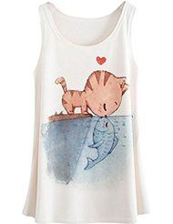 YICHUN - Camiseta sin mangas - para mujer Blanco Kiss of Cat and Fish Talla única Shirt Print Design, Shirt Designs, Ty Dye, Funny T Shirt Sayings, Kids Outfits, Cool Outfits, Blouses For Women, T Shirts For Women, T Shirt Painting