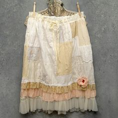 Patchwork Skirt With Petticoat    custom made patchwork skirt with vintage slip under skirt/petticoat