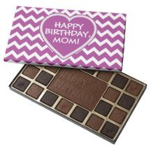 Purple Chevron and Heart Customized Chocolate Box 45 Piece Assorted Chocolate Box.  Shipped anywhere in the US.