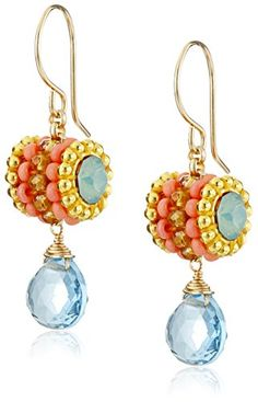 Miguel Ases Blue Hydro-Quartz Swarovski Drop Earrings Miguel Ases