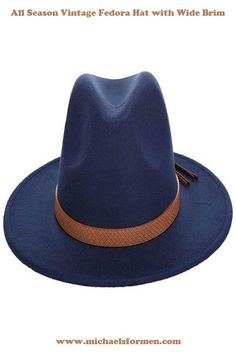 f1a602bfe6ac0 Autumn Winter Vintage Fedora Hat with Wide Brim
