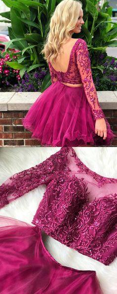 elegant two piece long sleeves prom dress, 2018 short fuchsia long sleeves prom dress homecoming dress