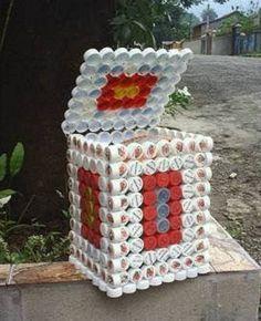 Caja multipropósito, reciclando tapas plásticas