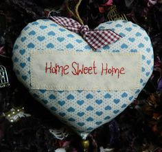 Shabby Chic Home Sweet Home Lavender Scented hand-embroidered Hanging Fabric Heart Home Decoration on Etsy, £4.50