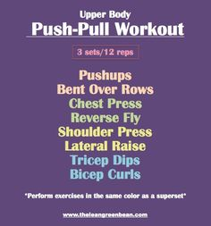 Push/Pull Upper Body Workout i-work-out Chest Workouts, At Home Workouts, Circuit Workouts, Body Workouts, Beginner Workouts, Morning Workouts, Training Workouts, Workout Exercises, Training Tips