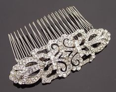 Wedding Hair Combs - Art Deco Style Crystal Encrusted Wedding Hair Comb, Ellen C Side Chignon, Art Deco Hair, Hair Comb Wedding, Wedding Headpieces, Wedding Dress, Art Deco Wedding, Crystal Wedding, Wedding Hair Accessories, Pearl Bracelet
