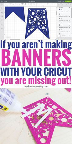 Today is the day were you will learn how to make THE MOST beautiful banners with your Cricut – Maker or Explore – once and for all. With the help of this tutorial you will learn how to make banners fo Cricut Air 2, Cricut Vinyl, Cricut Help, Proyectos Cricut Explore, Cricut Banner, Banner Template, How To Make Banners, Cricut Craft Room, Circuit Projects