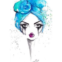 Marmont Hill Sea Turban by Jamie Lee Reardin Fashion Illustrator Framed Art Print, Size: 16 inch x 24 inch, Multicolor White Framed Art, Fashion Artwork, Jamie Lee, Paintings I Love, Box Art, Face Art, Watercolor Illustration, Painting Inspiration, Framed Art Prints