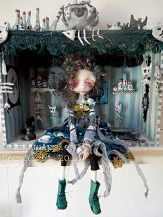 Art Doll Gothic creepy Shadowbox One of a kind by LuLusApple