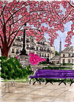 fifi flowers, pink flowering tree in paris, love her drawings