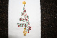 Christmas Tree Embroidered Kitchen Towel with by SeamsDivine, $14.00
