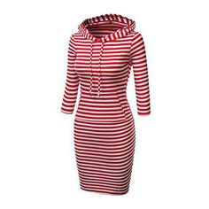 Rotita Hooded Collar Stripe Print Red Dress ($25) ❤ liked on Polyvore featuring dresses, short dresses, red, long sleeve striped dress, red sheath dress, long-sleeve mini dress, mini dress and hooded dress